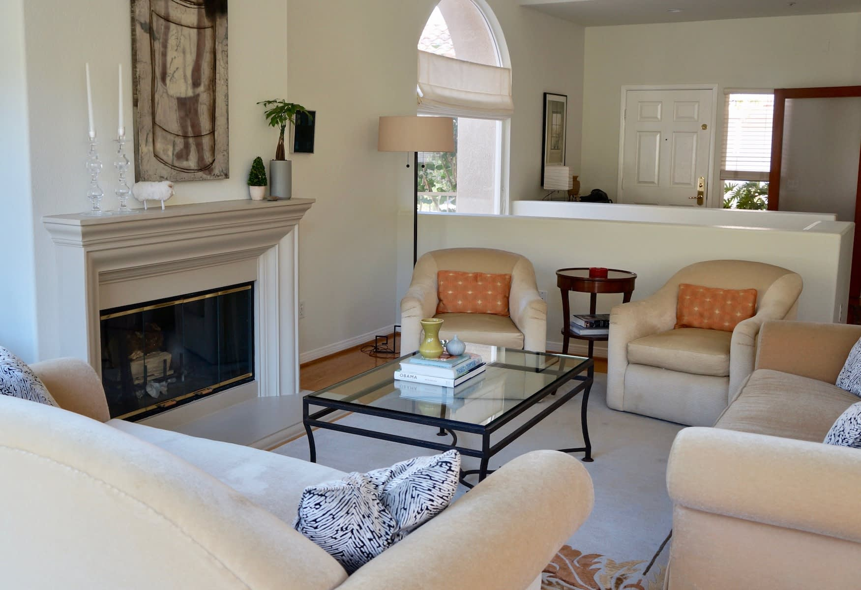 updated transitional classic living room space