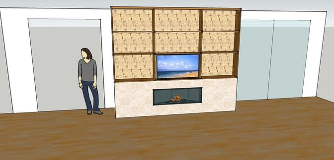 a scaled out design for the contractor shows the new placement of the TV.