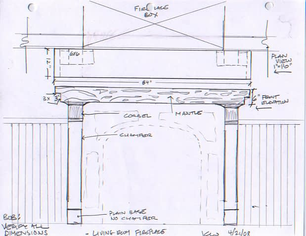 fireplace sketch black walnut mantle